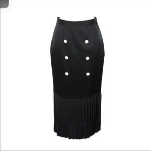 Edun Button-Front Pleated-Hem Skirt, Black 2